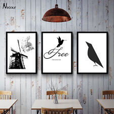 Crow Abstract Canvas Poster Black White Minimalism Nordic Art Painting Decor 006