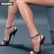 Ladies Peep Toe 18CM Super High Heel Shoes Ankle Strap Party Pole Dance Sandals