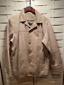 Vintage Distressed Wilsons M Julian Tan Button Leather Jacket Sz M