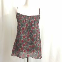 Anthropologie Ella Moss Gray Red  Floral Silk Chiffon Tank Top Blouse S