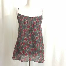 Anthropologie Ella Moss Gray Red  Floral Silk Chiffon Tank Top Blouse S