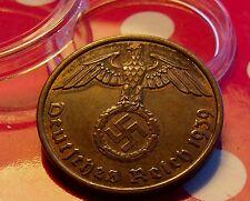 XF+ BRONZE 1939  A  GERMANY  THIRD REICH WAR EAGLE  2 REICHSPFENNIG &  HOLDER
