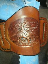 Handmade, hand sewn leather minimal holster for 1911 in antique Great Spirit