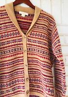 Brooks Brothers Medium Cardigan Sweater Nordic Fair Isle 100% Lambs Wool