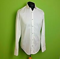 Guide London Premium Shirt Size Medium Formal White Shimmer Check Fitted Cotton