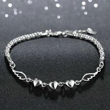 Womens Sterling Silver plated Heart Link Chain Bangle Bracelet USA Seller