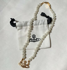 Vivienne Westwood Pearl Choker Gold Orb Necklace - best New Year gift