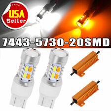 2x 7443 Switchback Amber/White 5730 Chip 20 SMD LED Turn Signal Lights+Resistors
