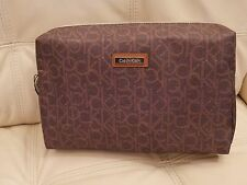 NEW WT CALVIN KLEIN BROWN CK LOGO COSMETIC MAKE UP TRAVEL BAG LARGE H6GRE5YZ