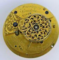 London Maker Verge Pocket Watch Movement for Repair - Diamond Stone (J63)