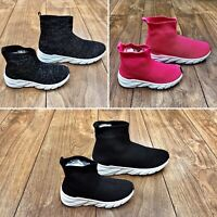 KIDS GIRLS INFANTS CHILDRENS HI TOP ANKLE SOCK BOOT TRAINERS CANVAS SUMMER SHOES