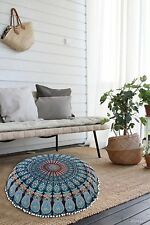 Bohemian Mandala Round Pouf Cover Cushion Cover Throw Indian Print Pillow Case