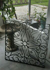 """Vintage Wrought Grate Black Rusty Salvage Architectural 24"""" Square Scroll Design"""