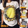 UK Womens Print Hippie Basic Tops Summer Beach Short Sleeve T shirt Loose Blouse
