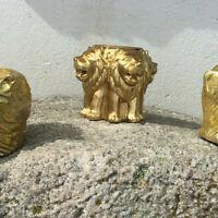 Kerzenständer Löwen Brunen - Stumpenkerze Teelicht Halter - Gold