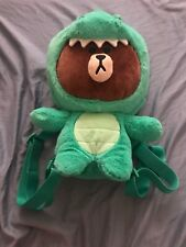 Line Friends Brown Dino Plush Backpack New Without Tag