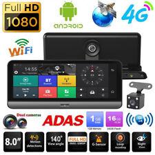 """8"""" Android Car Dash Cam 1080P HD 4G WiFi BT ADAS Dual Lens DVR Camera GPS Navi"""