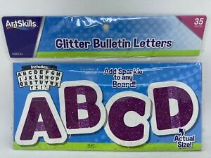 ArtSkills 35 Piece Purple Glitter Bulletin Board Letters