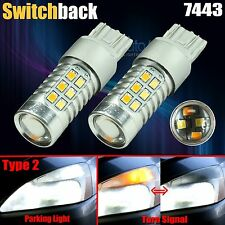 2X High Power Chip 7443 Type 2 Dual Color Switchback LED Turn Signal Light Bulbs