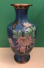 GORGEOUS CHINESE BLUE CLOISONNÉ ENAMEL METAL VASE FLORAL URN BUTTERFLY PRE-1890?