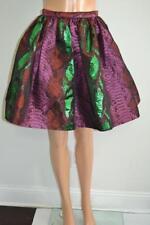 NWT House of Holland Metallic Purple/Green/Orange Graphic Pleated Skirt, Sz 4
