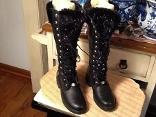 WOMEN'S TIMBERLAND KNEE-HIGH TALL FAUX FUR WINTER SNOW BOOTS  BLACK Leather 6M