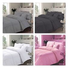 LUXURY HAMLET DUVET COVER SET WITH P.CASES, POLYCOTTON, 4 COLOURS (IN ALL SIZES)