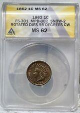 1862 Indian Head Cent - 95 Degree CW ROTATION ERROR - MPD - FS-301 - ANACS MS 62