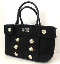 Kate Spade FOX CHAPEL Shari Handbag Tote Purse Black Italian Felt Gold Buttons