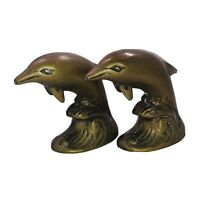 Vintage Set of 2 Brass Dolphin on Waves Water Figure Paperweight Nautical Beach