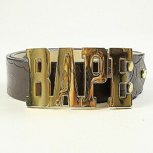 A BATHING APE BAPE buckle embossed leather belt BROWN L