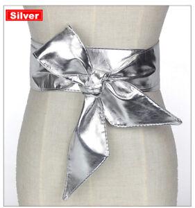 Faux Leather Waist Belt Wrap Around Self Tied Bow Wide Waistband Women's Belt