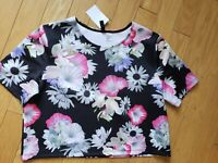 NWT womens H&M floral crop top size L