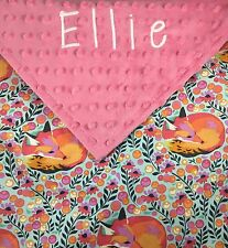 Personalized Embroidered Designer Fabric Floral Fox Minky Baby Girl Blanket