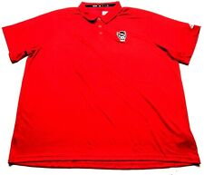 Adidas NC State Wolfpack New Mens Red Striped Polo Shirt Size 4XL