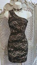 🌹LIPSY🌹NEW SEXY BLACK ONE SHOULDER MINI COCKTAIL DRESS UK 10 PARTY WEDDING