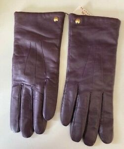 Coach - Women's Soft Leather Gloves. NWT Violet. Soft Wool Lining SZ 8