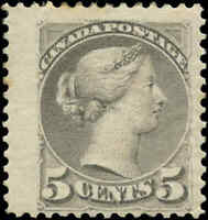 Mint Canada F+ Scott #42 5c1888-1897 Small Queen Issue Stamp Hinged