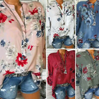 Womens V-Neck Blouse Floral Print Tops T-shirts Ladies Casual Tee Basic Shirt