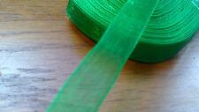 Job Lot Wholesale  25 Yards Green Organza Ribbon Full Roll 9mm