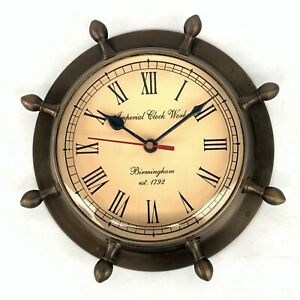 Vintage Reproduction Home Decorative Solid Brass Ship Clock Maritime  Wall Clock