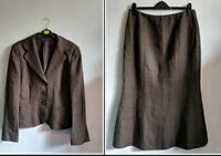 Hobbs Linen Skirt Suit Brown Jacket 16 UK Long Linen Skirt 14 UK  Maxi  Country