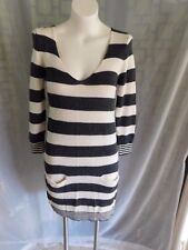 20837db812b54 Express Gray Ivory Striped Wool 3/4 Sleeve Scoop V-Neck Sweater Dress -