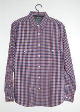 Woolrich Men's Concourse Red & Blue Plaid LS Button-down Shirt, Size Medium
