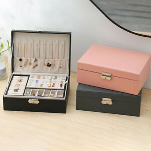 Double Layer Leather Jewellery Box Ornament Storage MultiFunction Large Box