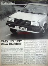 1982 DATSUN 'Sunny 1.5 DX 4-door' Car Auto Report Clipping (6-Sided Cutting)