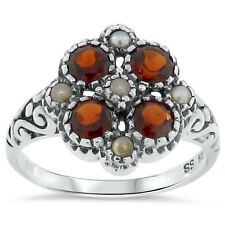 GENUINE GARNET SEED PEARL ANTIQUE VICTORIAN STYLE .925 SILVER RING SIZE 5,  #168