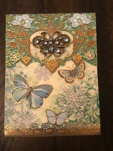 Punch Studio Gold Foil BROOCH Pocket Notepad Magnetic Closure Blue Butterflies