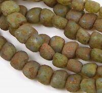 6x8mm Czech Glass Kidney Nugget Beads : Milky Aqua - Stone Picasso (25)