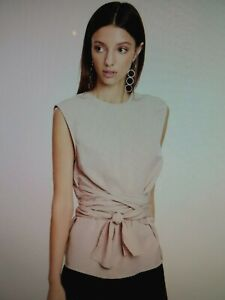 """Stunning FWRD THE LABEL """"Jeanne Top"""" Sz 12 Antique Pink Wrap Top BNWTGS RRP $169"""